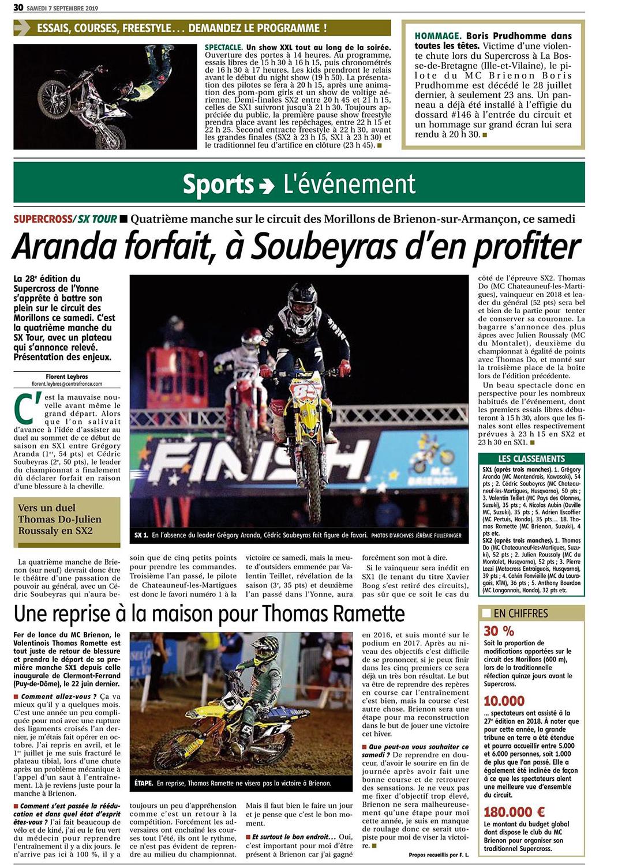 Supercross de l'Yonne 2019 - Article de l'Yonne républicaine du Samedi 7 Septembre