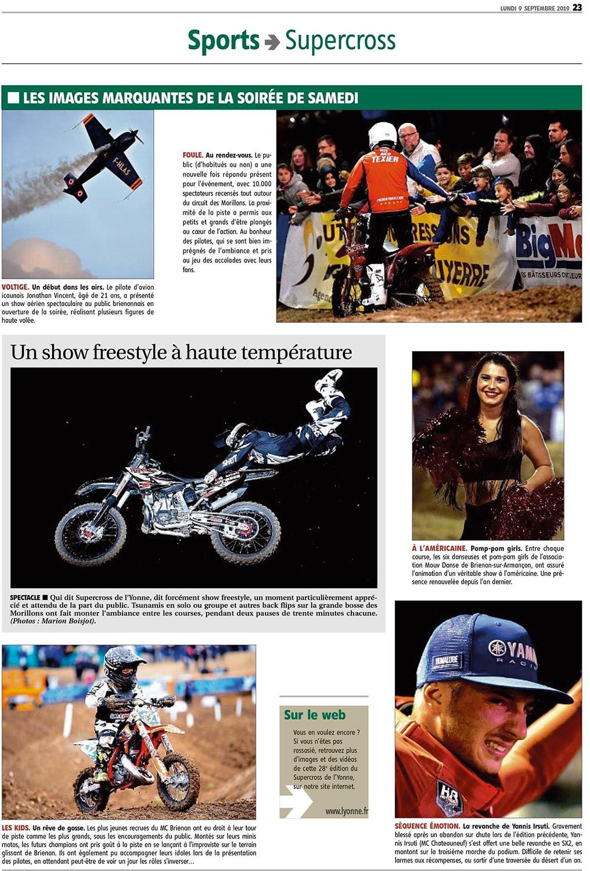 Supercross de l'Yonne 2019 - Article de l'Yonne républicaine du Lundi 9 Septembre