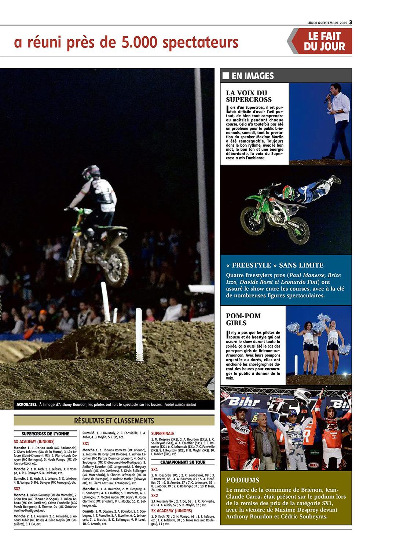 Supercross de l'Yonne 2021 - Article YR du 6 septembre