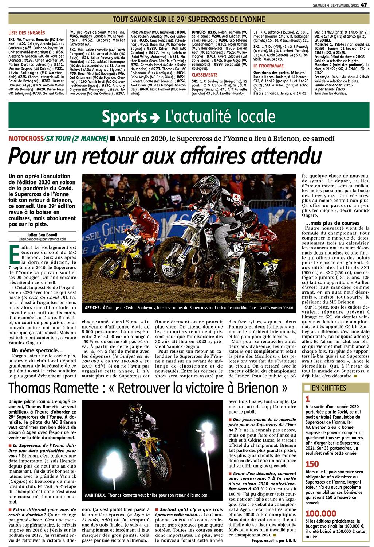 Supercross de l'Yonne 2021 - Article YR du 4 septembre