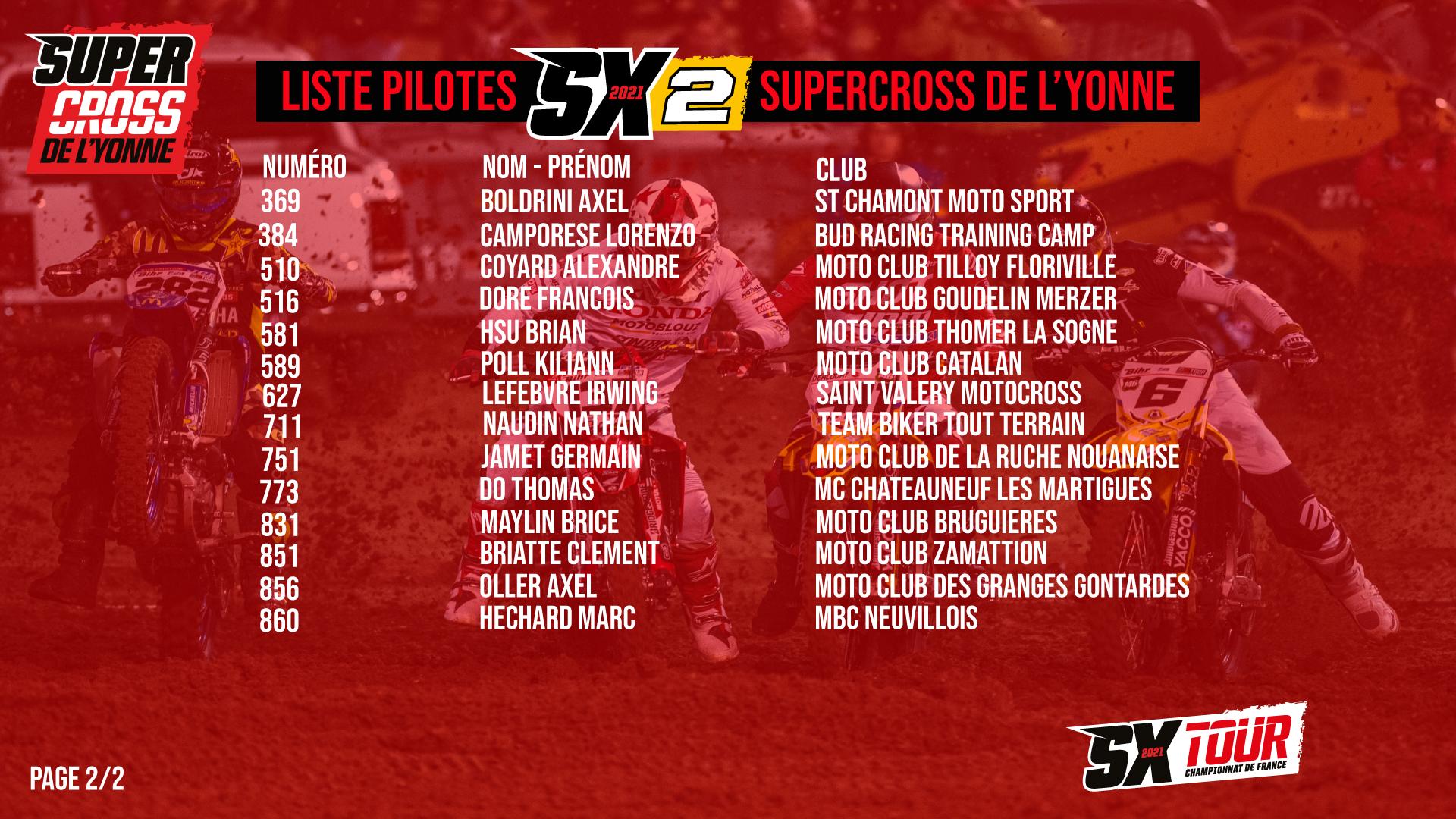Supercross de l'Yonne 2021 -  La liste des pilotes SX2