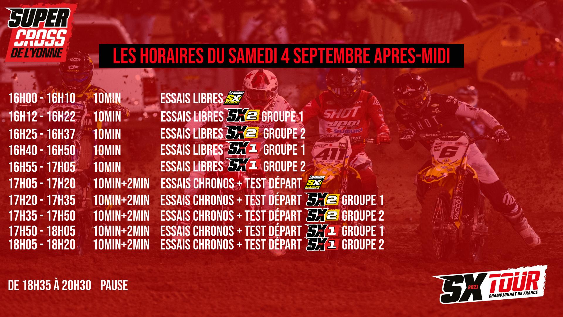 Supercross de l'Yonne 2021 - Les Horaires des essais