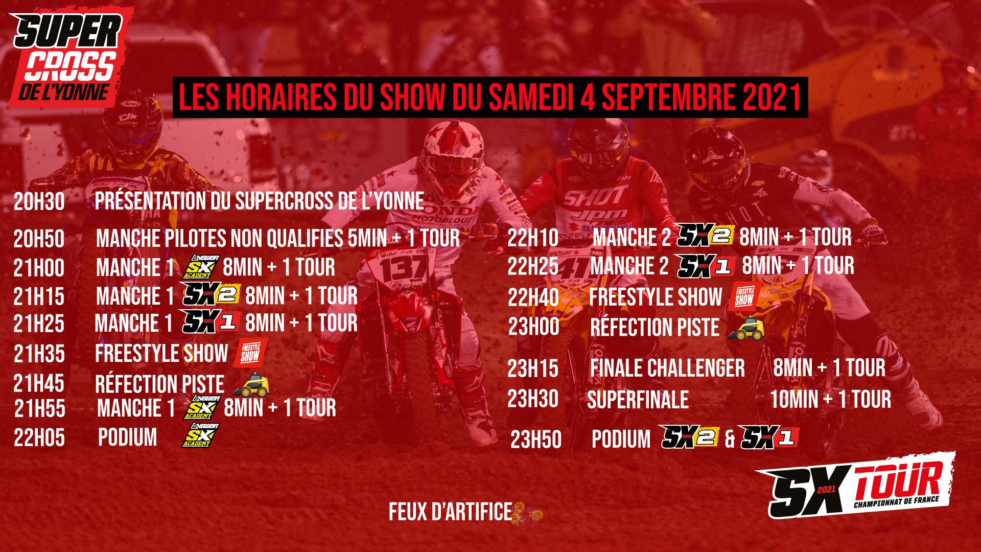 Supercross de l'Yonne 2021 - Les Horaires du Show